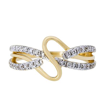 Anillo onda en oro amarillo de 18 Kilates con diamante
