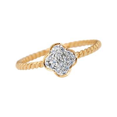Anillo margarita en oro amarillo de 18 Kilates con diamante