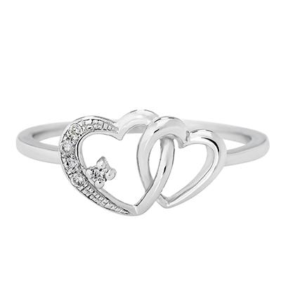 Anillo corazon en oro blanco de 18 Kilates con diamante