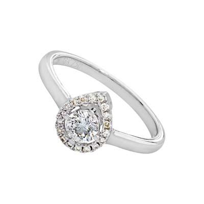 Anillo en oro blanco de 18 Kilates con diamante