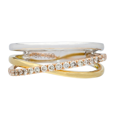 Anillo en 3 oros de 18 Kilates rodinado con diamantes en decoracion de 0.23Ct peso total