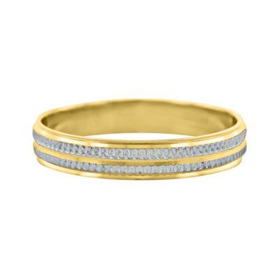 Argolla en oro amarillo de 18 Kilates rodinado visos plana, 4 milímetros de ancho