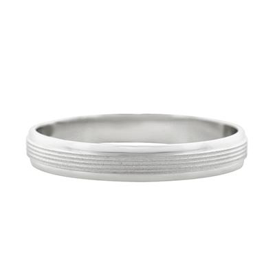 Argolla en oro blanco de 18 Kilates rodinado satinado 1/2 caña, 3.5 milímetros de ancho