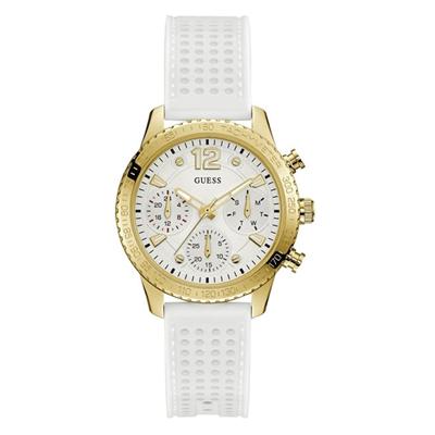 bcf0ade1 6R06000401 - Reloj Guess analogo, para Dama, tablero redondo colores blanco  y dorado,