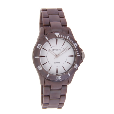 Reloj Unisex, tablero redondo, blanco, index, analogo, pulso pasta cafe