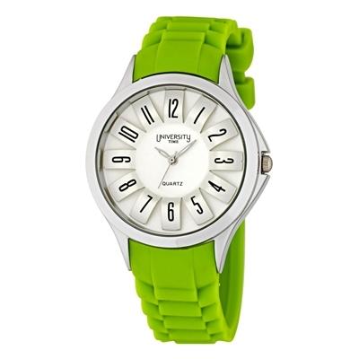 Reloj Unisex, tablero redondo, verde, arabigo, analogo, pulso silicona verde
