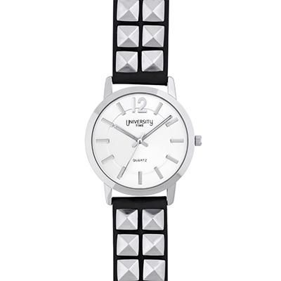 Reloj para Dama, tablero redondo, silver, index + arabigo, analogo, pulso cuero sintetico negro