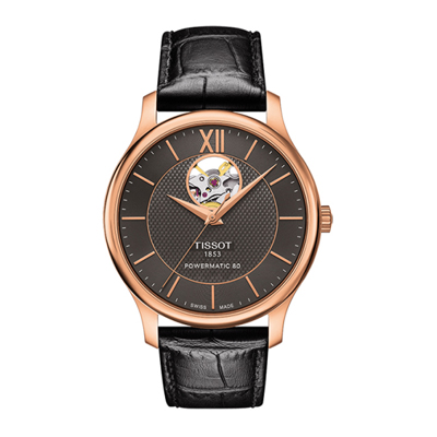 Reloj para Hombre, tablero redondo, gris, index + romano, analogo, pulso cuero negro