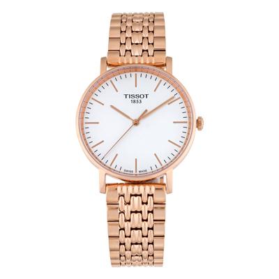 Reloj Tissot analogo, para Hombre, tablero redondo colores blanco y rosa, estilo index, pulso metalico color rosa