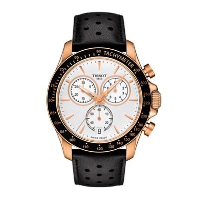 Reloj Tissot analogo, para Hombre, tablero redondo colores blanco y rosa, estilo index, pulso cuero color negro, calendario, cronografo