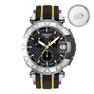 Reloj Tissot analogo, para Hombre, tablero redondo colores negro y amarillo, estilo index, pulso ruber colores negro y amarillo, calendario, cronografo