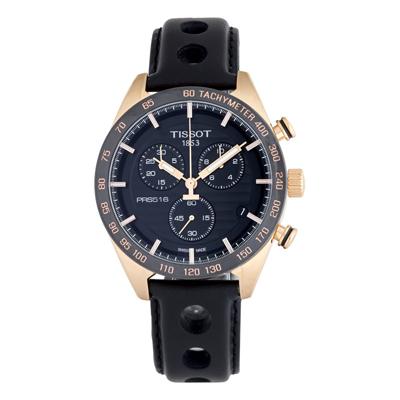 Reloj Tissot analogo, para Hombre, tablero redondo colores negro, dorado y rosa, estilo index, pulso cuero color negro, calendario, cronografo