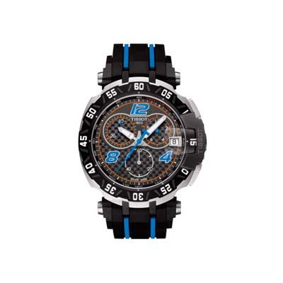 Reloj Tissot analogo, para Hombre, tablero redondo colores negro y azul, estilo arabigos, pulso silicona colores negro y azul, calendario, cronografo