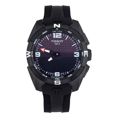 Reloj para Hombre, tablero redondo, negro, index + arabigo, analogo y digital, pulso silicona negro, calendario, cronografo