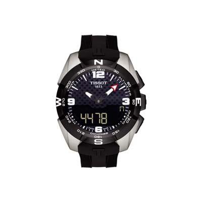 Reloj para Hombre, tablero redondo, negro, index + arabigo, analogo y digital, pulso silicona negro, calendario