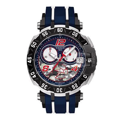 Reloj para Hombre, tablero redondo, azul, index, analogo, pulso silicona azul, calendario