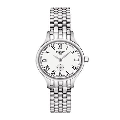 Reloj para Dama, tablero ovalado, blanco, romanos, analogo, pulso metalico metalico